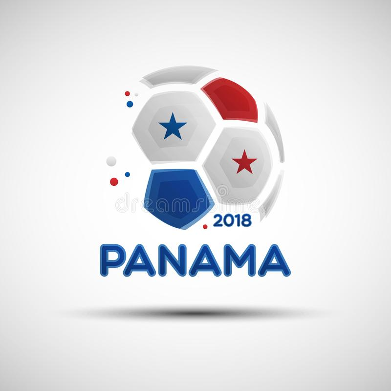 Abstract soccer ball with Panamanian national flag colors vector illustration