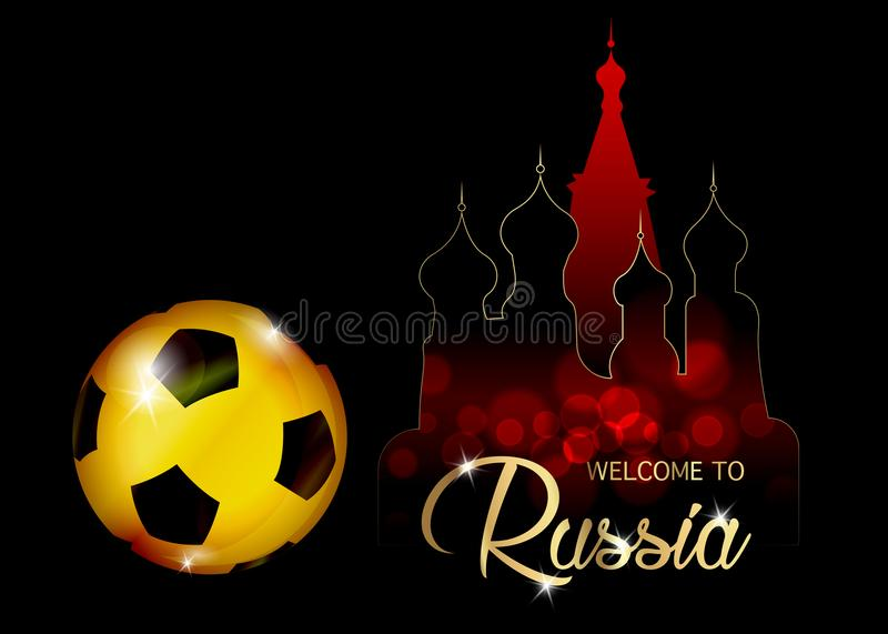 Football championship banner. Vector illustration of abstract golden soccer ball with skyline St. Basil`s Cathedral in Moscow stock illustration