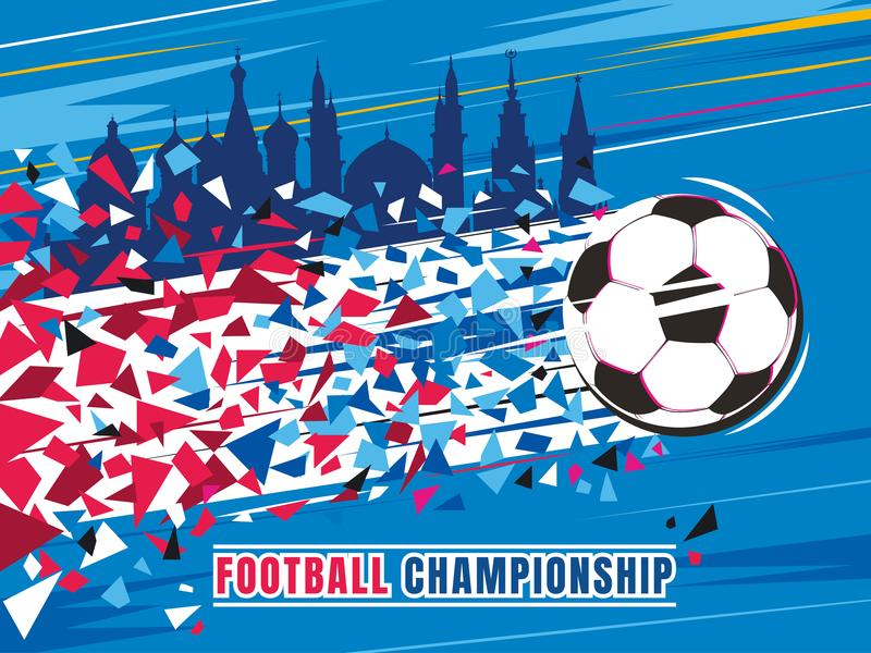 Football championship concept vector illustration. Flying soccer ball with trace and buildings. Football championship concept vector illustration. Flying soccer royalty free illustration