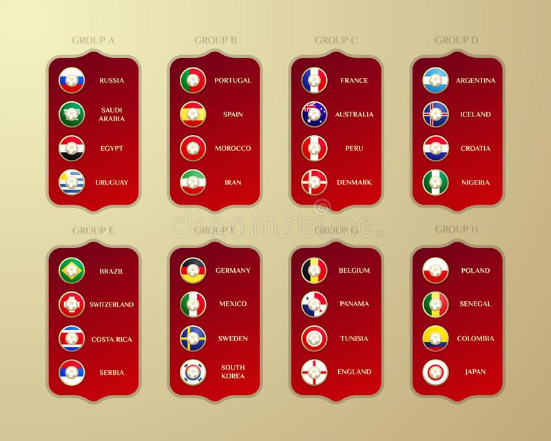Football championship groups in Russia. Vector country flags 2018 vector illustration