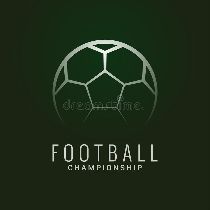 Football championship logo. Soccer ball dark green vector illustration