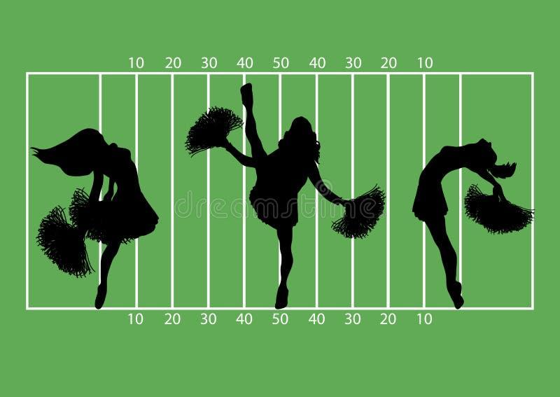 Football Cheerleaders 1 royalty free illustration