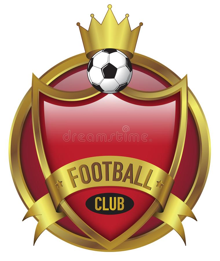 Football Club with Gold Crown in Red Background royalty free stock photography