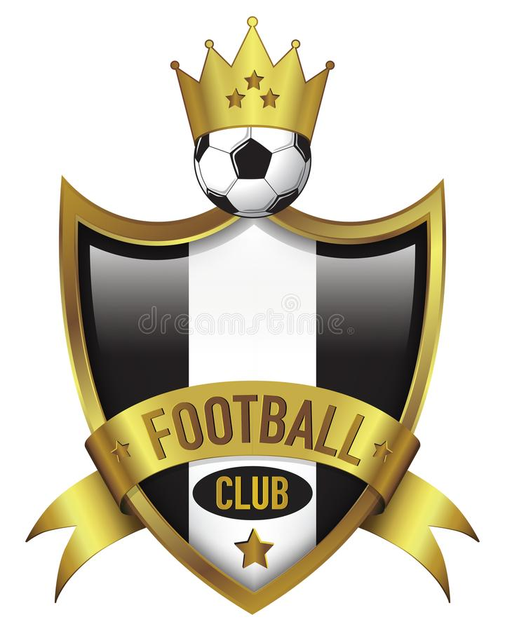 Football Club logo design with gold Crown royalty free stock image