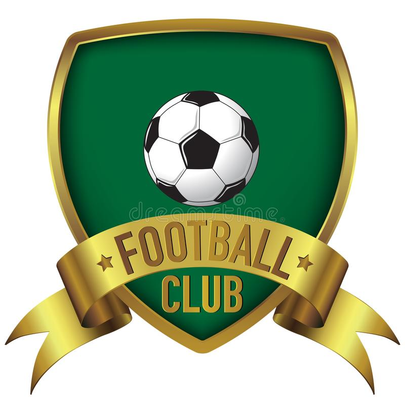 Football Club logo design in green background with gold frame and ribbon vector illustration