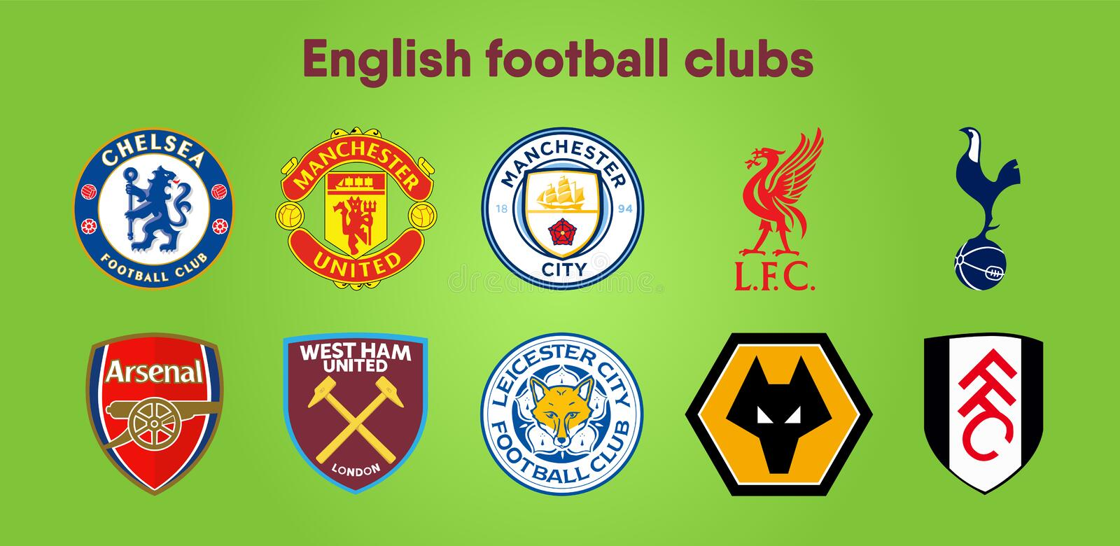 Football club Logos. Set of ten different vector designs for premier league English Football Club badges or emblems in a stock illustration