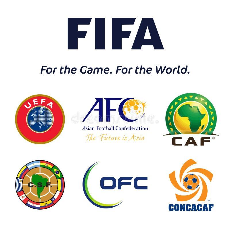 Football confederations emblems stock illustration