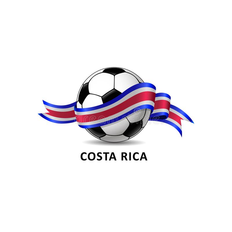 Football with costa rica national flag colorful trail. royalty free illustration