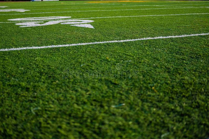 Football court pitch grass pole lines closeup royalty free stock image