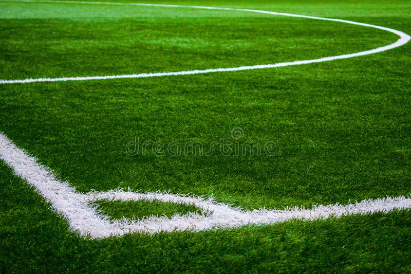 Football court pitch grass pole lines closeup royalty free stock images
