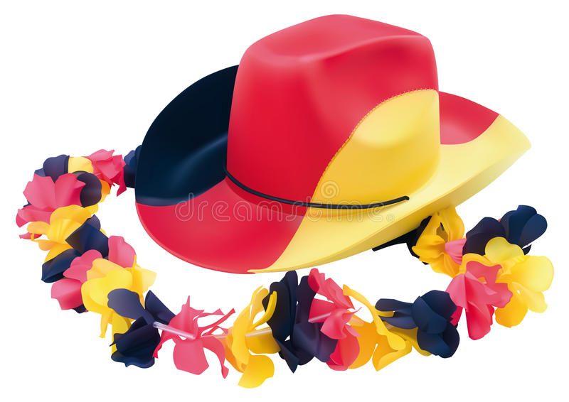 Football Cowboy Hat With Flower Necklace Stock Image
