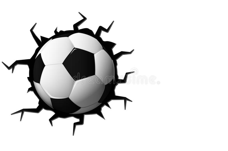 football cracked in wall soccer ball with copy space   sport gam stock vector