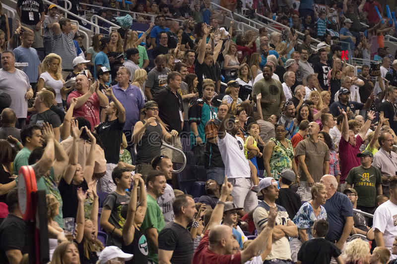 Football crowd fills the stadium for Arizona Rattlers football. Arizona Rattlers football fans fill the Talking Stick Resort Arena in downtown Phoenix and cheer stock photo