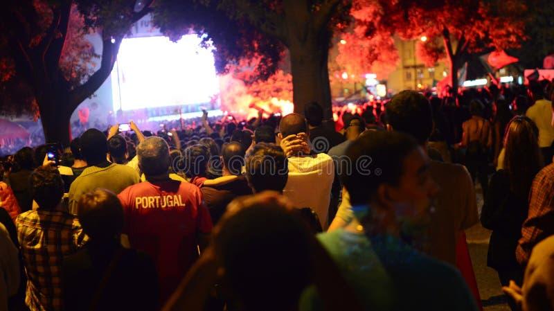 Football Crowd, Lisbon, Portugal - UEFA European Championship Final 2016 stock photos