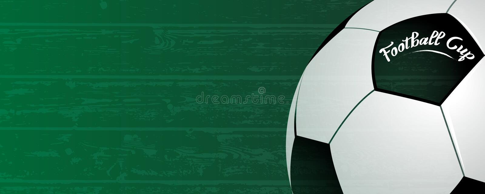 Football cup background. Classic ball on grunge green field background. Sport and Soccer national competition event concept. stock illustration