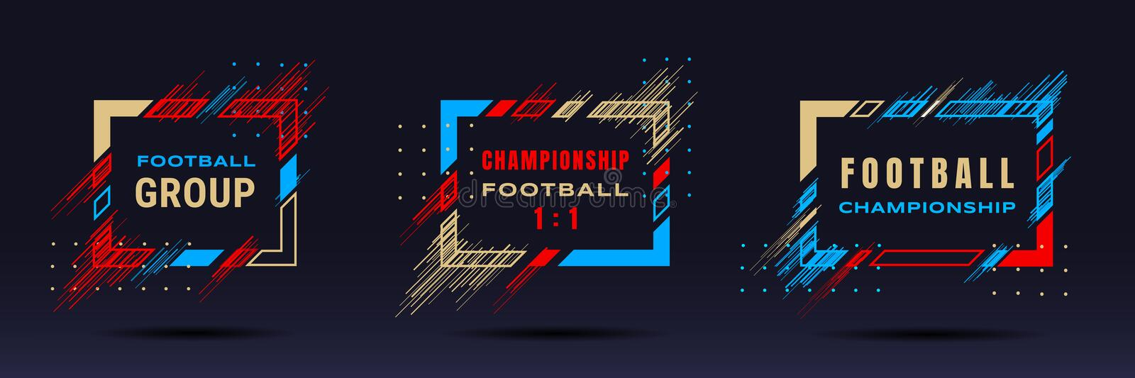 Football cup, soccer championship illustration. Vector frames with dynamic lines isolated on black background. Glitch stock illustration