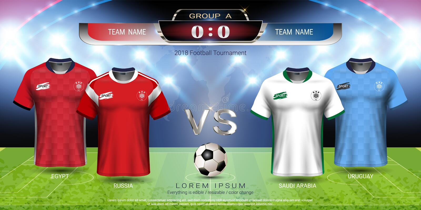 Football cup 2018 team group A, Soccer jersey with scoreboard mock-up royalty free illustration
