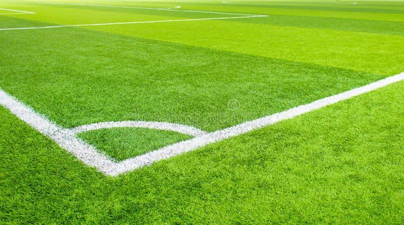 Football en salle, herbe artificielle de terrain de football, l'espace de copie, plan rapproché images stock