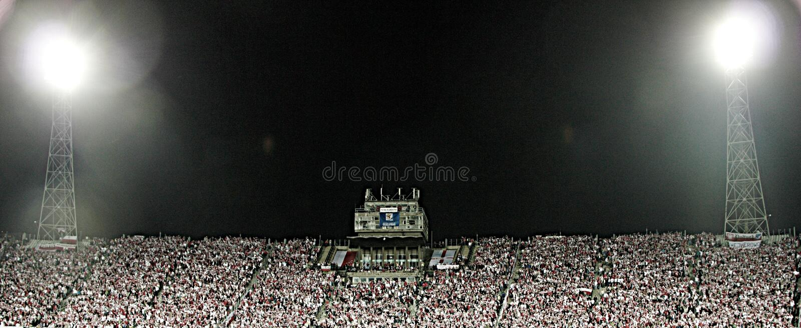 Football Fans. Night image of the Slaski Stadium before the 2010 FIFA World Cup qualification match between Poland and Northern Ireland on September 5, 2009 in royalty free stock photos