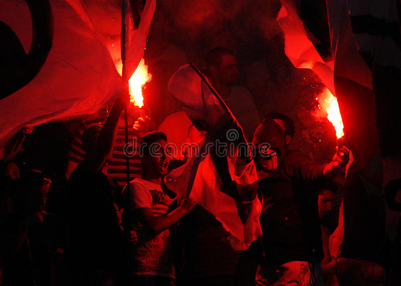 Download Football fans with flares editorial stock image. Image of champions - 32259599