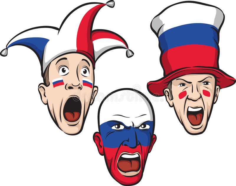 Football fans from Russia. Vector illustration of football fans from Russia. Easy-edit layered vector EPS10 file scalable to any size without quality loss royalty free illustration