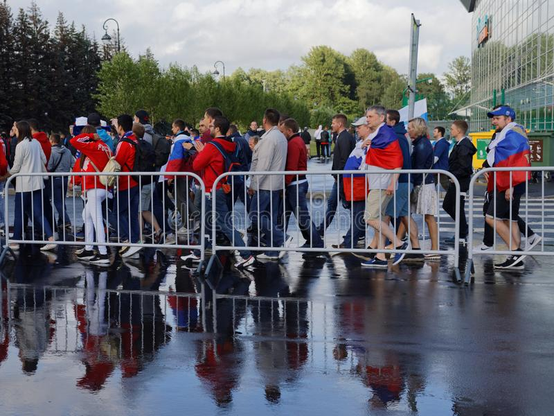 Football fans at Saint Petersburg Stadium during FIFA World Cup Russia 2018 royalty free stock photography