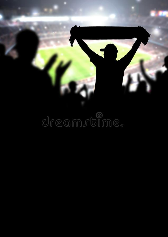 Football fans or soccer crowd background. Silhouette people in s stock photo