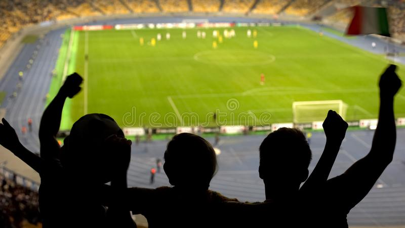 Football fans supporting national team at sports arena, championship game royalty free stock image