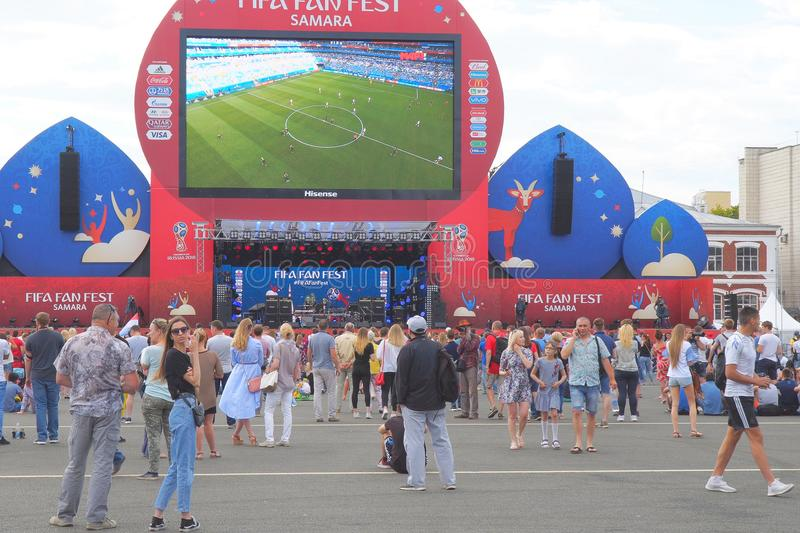 Football fans watch live broadcast of match in fan zone of 2018 FIFA world Cup in Samara stock photo
