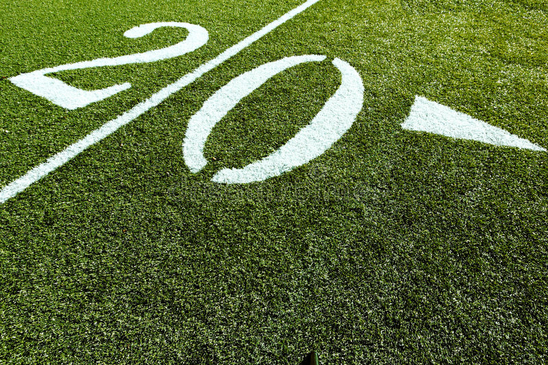 Football Field 20 Yard Line royalty free stock photography
