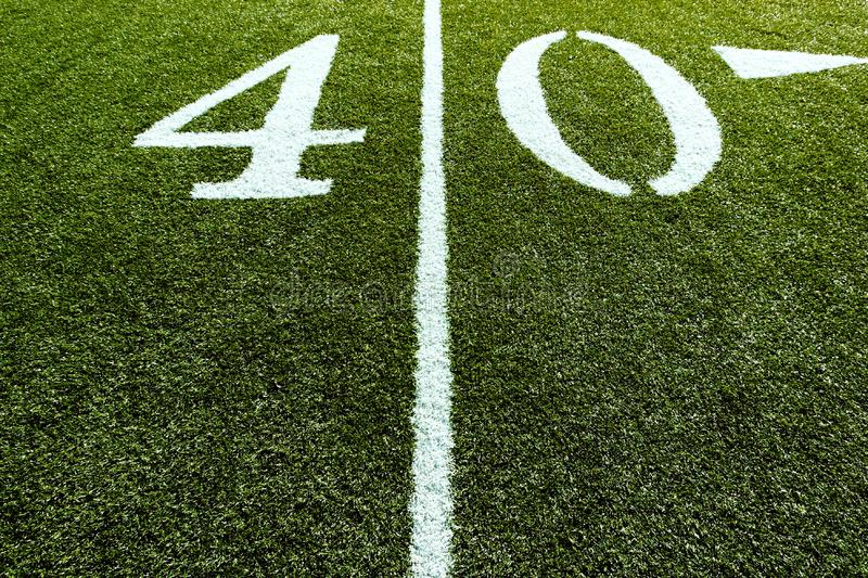 Football Field on 40 Yard Line royalty free stock photography