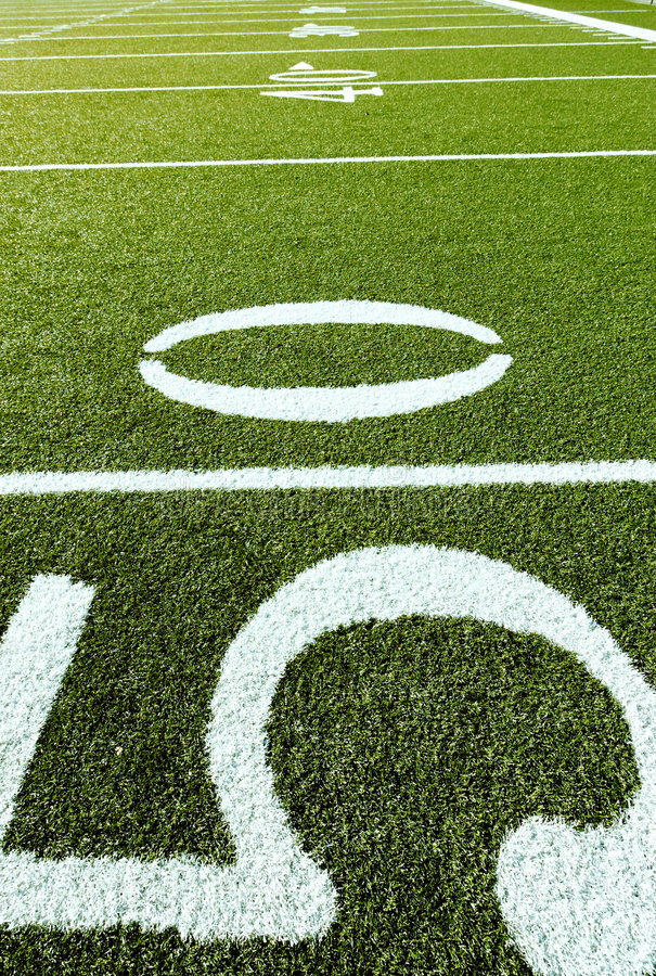 Football Field with 50, 40, 30 stock photo