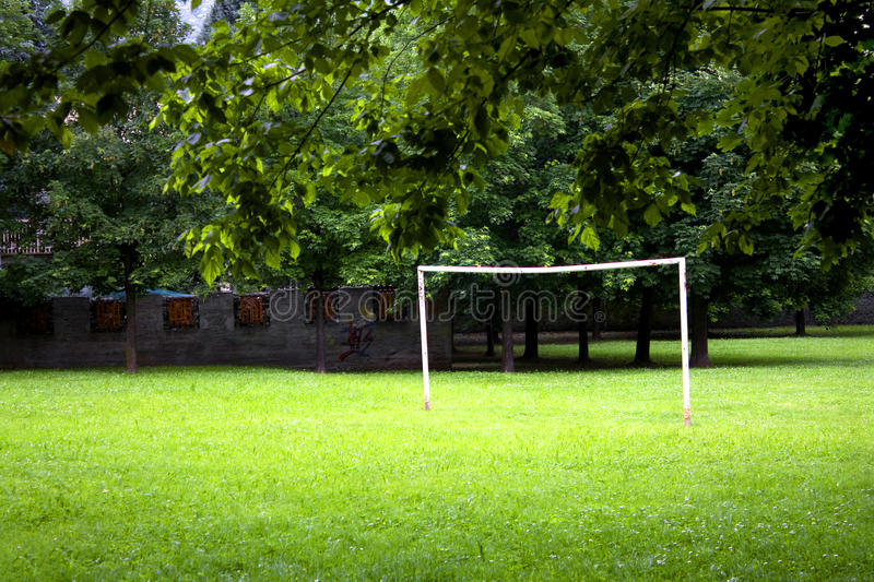 Football field. Surrounded by green stock photo