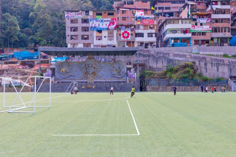 Football field in Aguas Calientes Peru royalty free stock photo