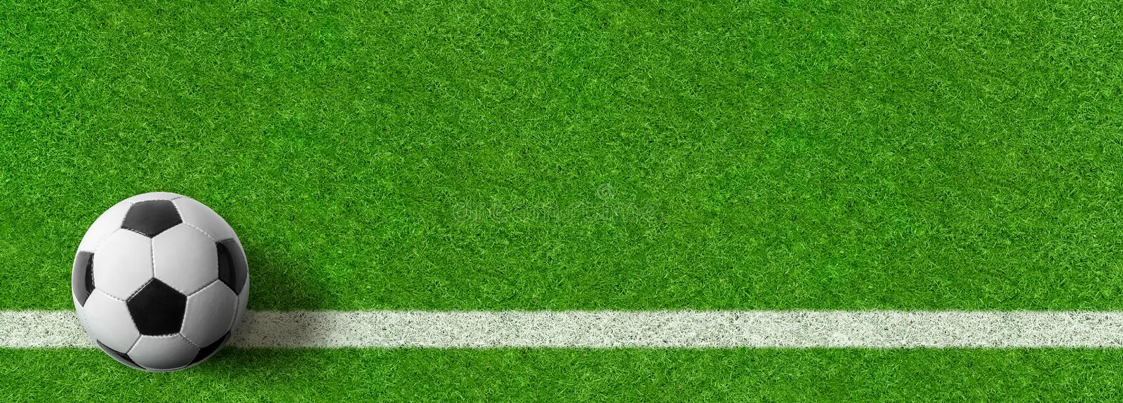 Football field with a ball and copy space stock photography