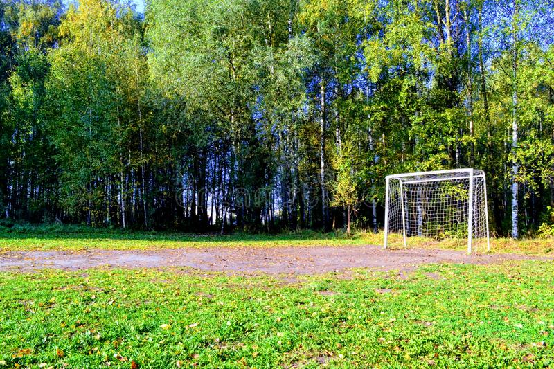 Football field for children. In the park football gates sport game match stock photos