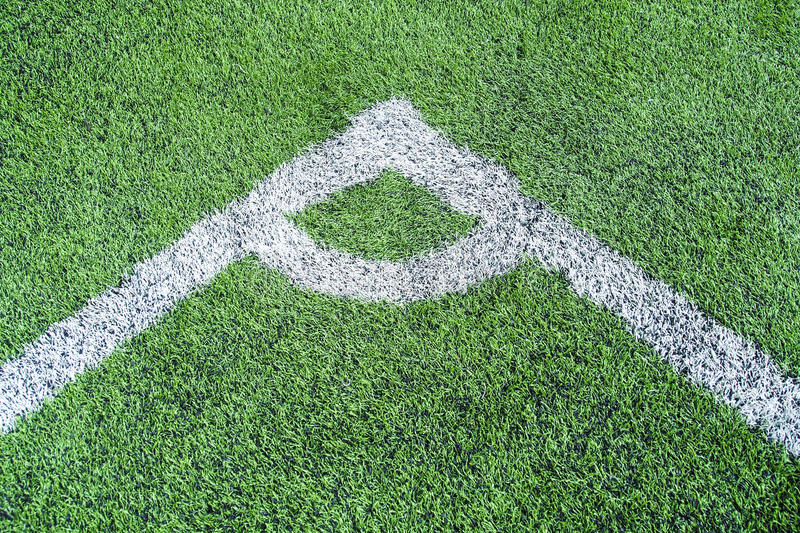 Football field conner royalty free stock images