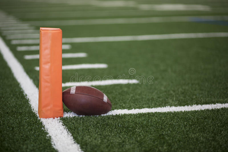 Football field endzone ball stock photos