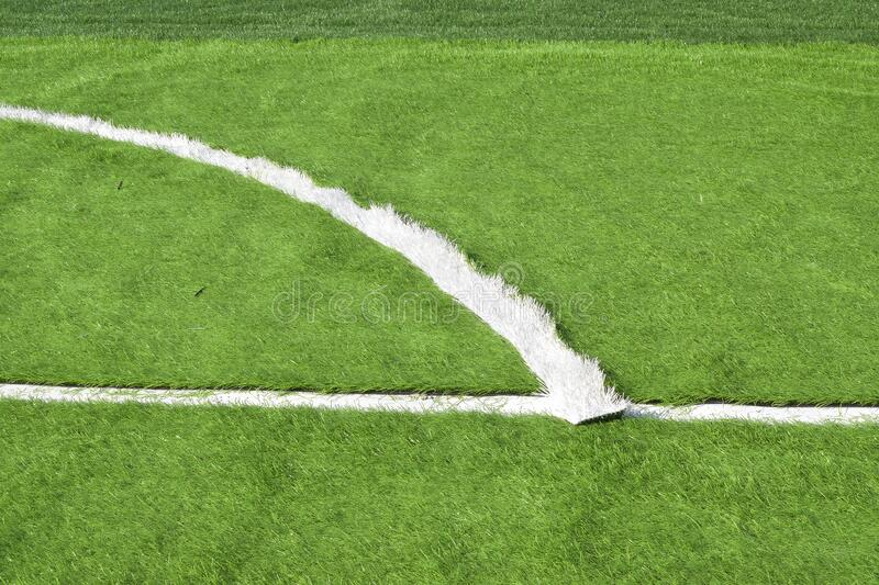 The football field has improved artificial grass royalty free stock photo