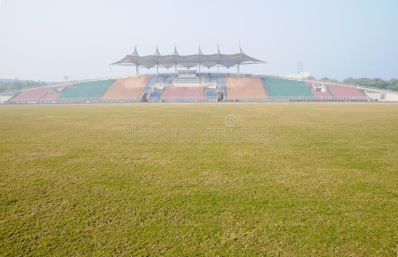 Football Soccer Pitch On Foggy Morning Stock Photo Image