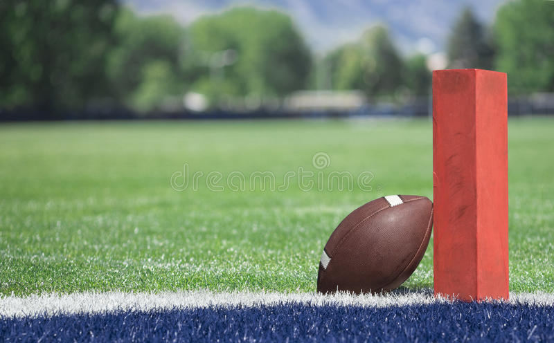 Football field low end zone view stock photos