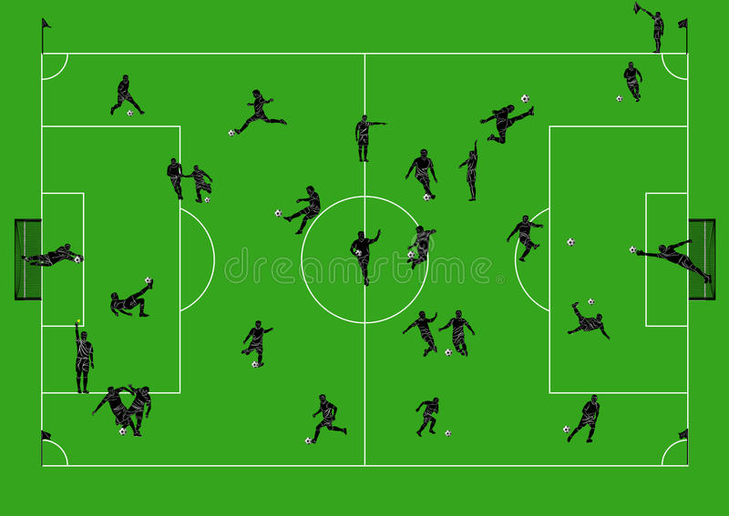 Football field with players and referees stock images