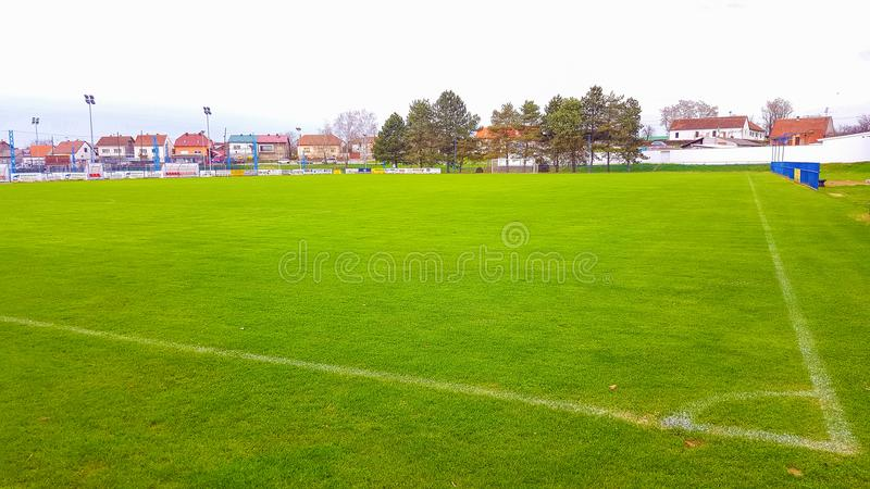 Football field in Pozega, view through the net stock photo