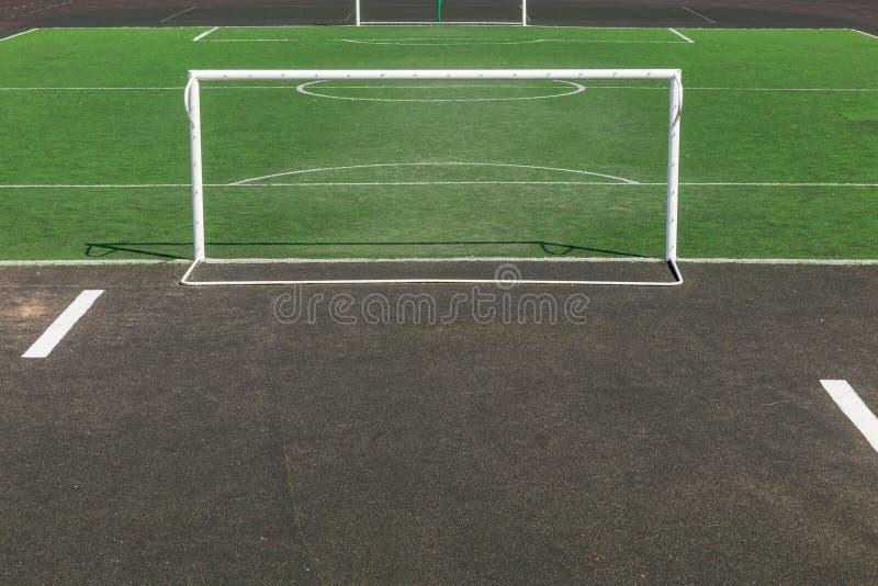 Football field in the school yard 2 royalty free stock photo