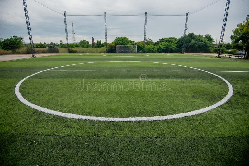 Football field or soccer field. Spot stock photos