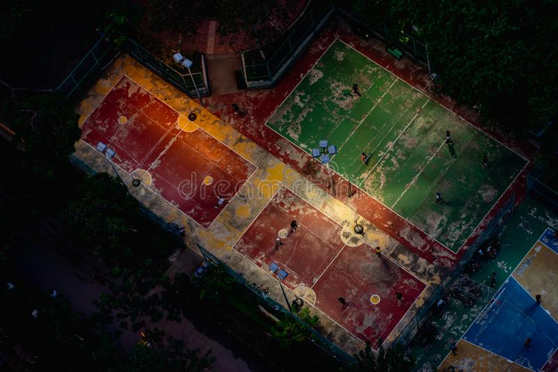 Football field or soccer field. Top view stock photography