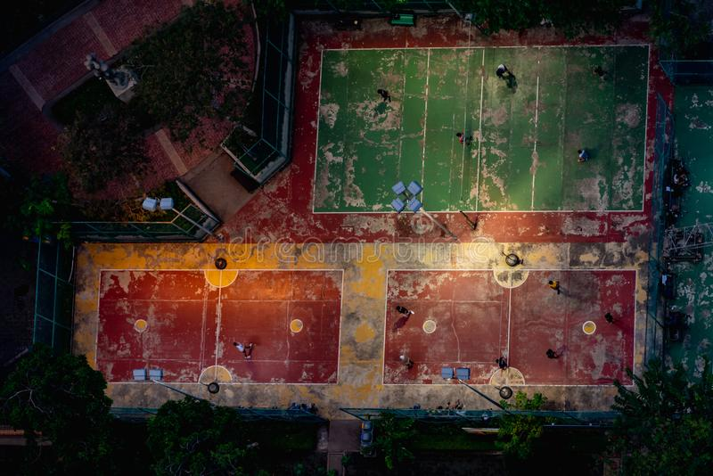 Football field or soccer field. Top view stock photo