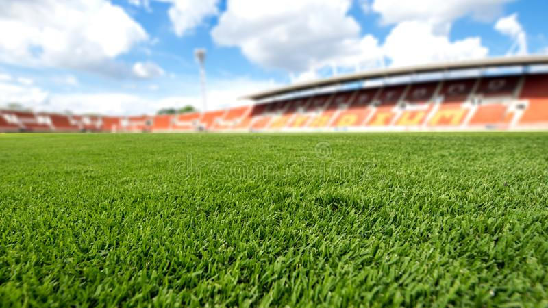 Football field , soccer field background texture. Football field ball on green grass , soccer field background texture stock photo