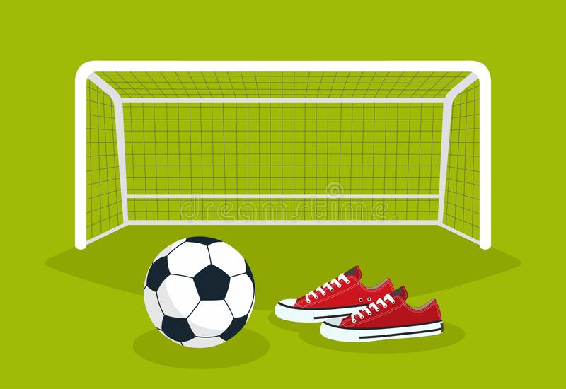 Football. Soccer ball and sneakers on the green field in front of the gate royalty free illustration