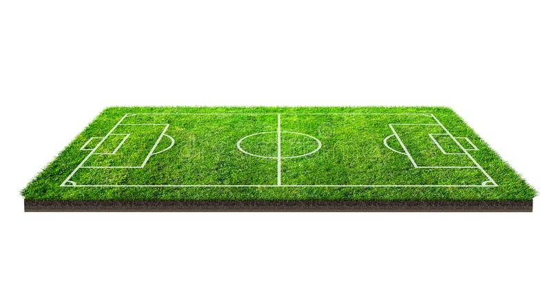 Football field or soccer field on green grass pattern texture isolated on white background with clipping path. Soccer stadium. Background with line pattern of royalty free stock photos